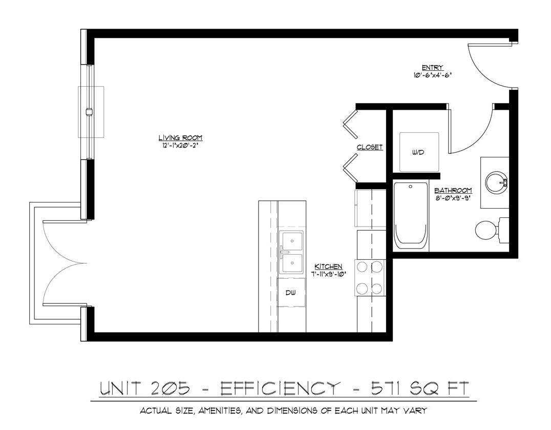 Erin square efficiency apartment welcome to mccaughey for Efficiency floor plans