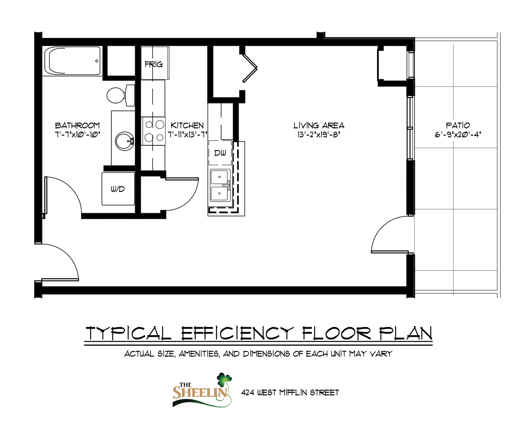 The sheelin efficiency apartment welcome to mccaughey for Efficiency floor plans